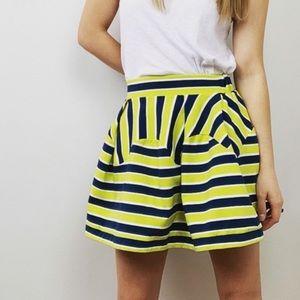 Anthropologie Green Striped Mini Skirt